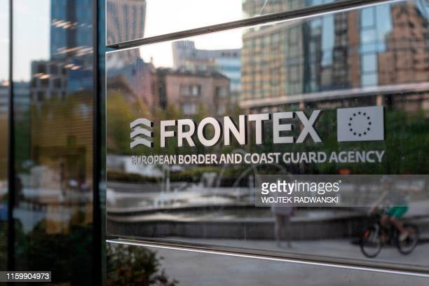 The logo of European Union border force Frontex is pictured at the headquarters in Warsaw Poland on August 5 2019 The European Union border force...