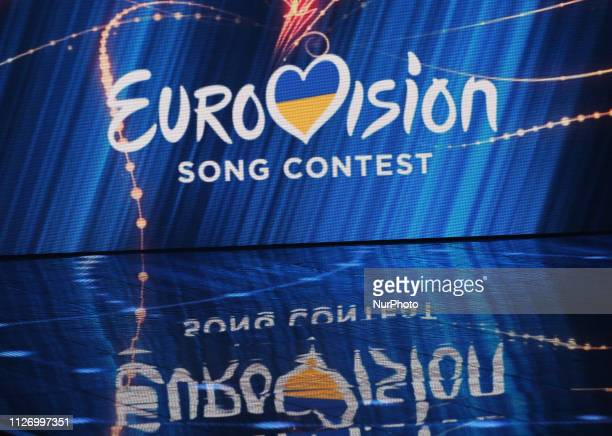 The logo of Eurovision Song Contest is displayed during the 2019 Eurovision Song Contest national selection show in Kiev Ukraine on 23 February 2019...