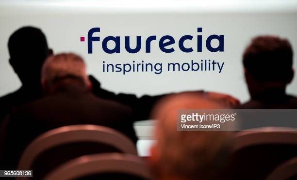 The logo of Faurecia at the French auto parts maker Faurecia general shareholders meeting on May 30 2018 in Paris France At Faurecia's Annual General...