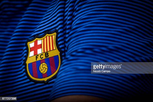 The logo of FC Barcelona is pictured during FC Barcelona press conference on the eve of the UEFA Champions League football match between Juventus FC...