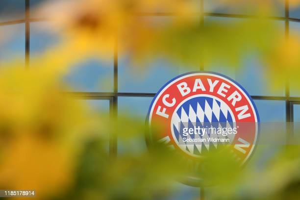 The Logo of FC Bayern Muenchen is seen behind fall foliage at Saebener Strasse training ground on November 03, 2019 in Munich, Germany.