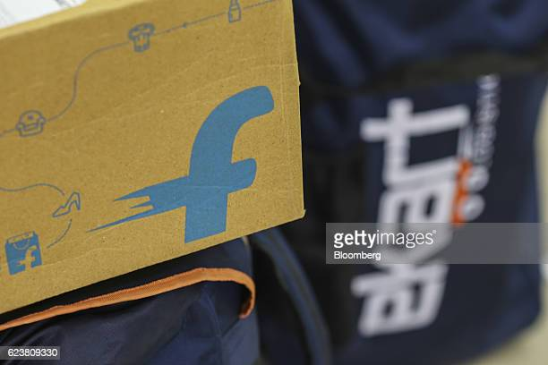 The logo of Flipkart Online Services Pvt is seen on the side of a package at the company's office in the Jayaprakash Narayan Nagar area of Bengaluru...