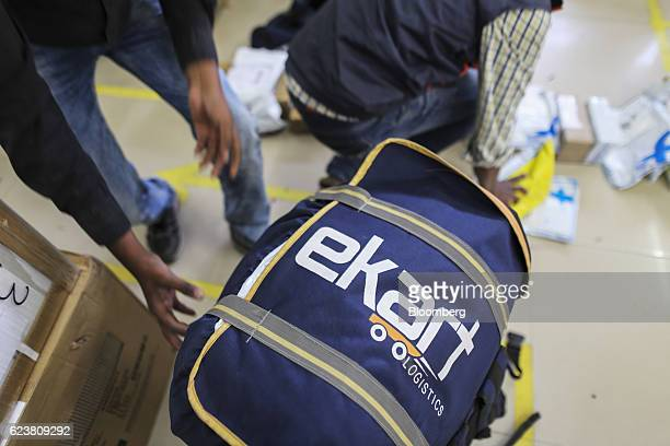 The logo of Flipkart Online Services Pvt's Ekart Logistics service is seen on a delivery bag at the company's office in Bengaluru India on Wednesday...
