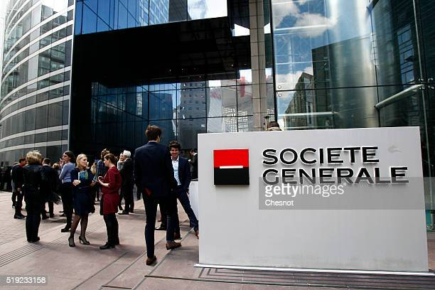 The logo of French bank Societe Generale is seen at the headquarters building on April 05 2016 in La Defense France According to the International...