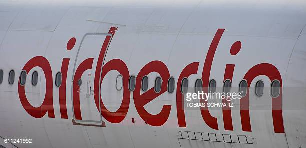 The logo of German airline Air Berlin can be seen on a plane at the Tegel airport in Berlin on September 29 2016 Struggling Air Berlin Germany's...