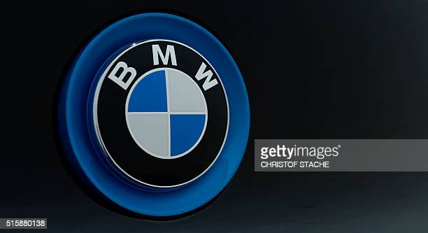 The logo of German car maker BMW is pictured during the annual press conference of the German car maker BMW in Munich southern Germany on March 16...