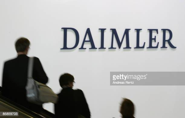 The logo of German car maker Daimler AG is seen during the annual general meeting at the ICC Berlin on April 8 2009 in Berlin Germany The Board of...