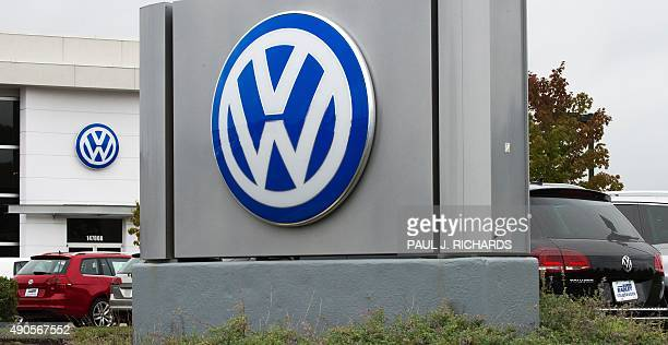 The logo of German car maker Volkswagen is seen at Northern Virginia dealer in Woodbridge, Virginia on September 29, 2015. Wall Street stocks dropped...
