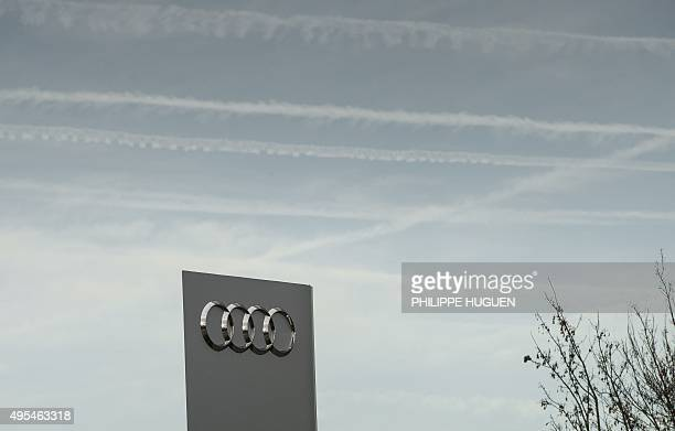 The logo of German carmaker Audi is pictured in Villeneuve d'Ascq northern France on November 3 2015 The US Environmental Protection Agency said late...