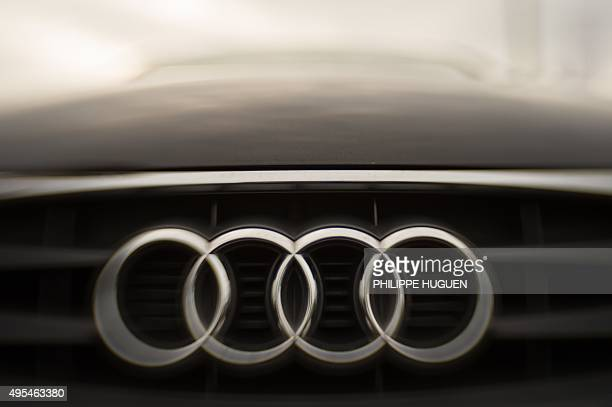 The logo of German carmaker Audi is pictured on a car at a dealership in Villeneuve d'Ascq northern France on November 3 2015 The US Environmental...