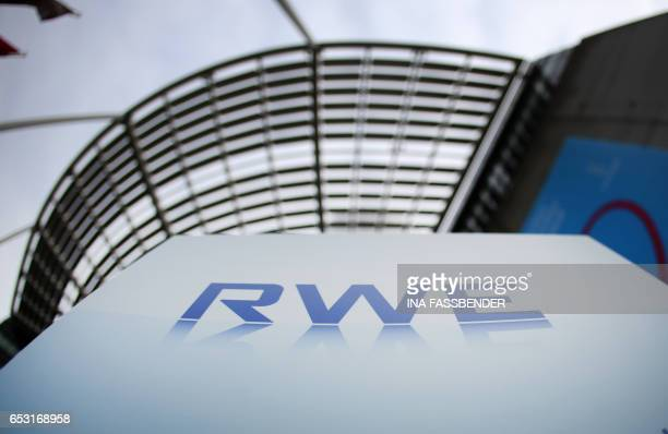 The logo of German energy supplier RWE can be seen in front of the company's headquarters in Essen western germany where the company held its annual...