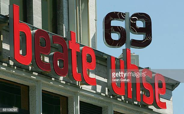 The logo of German erotic merchandise retailer Beate Uhse is visible over one of its stores June 20 2005 in Berlin Germany Beate Uhse executives...