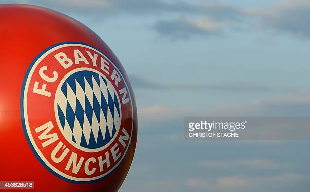 The logo of German first division Bundesliga football club FC Bayern Munich is seen on a balloon pictured outside the stadium in Munich southern...