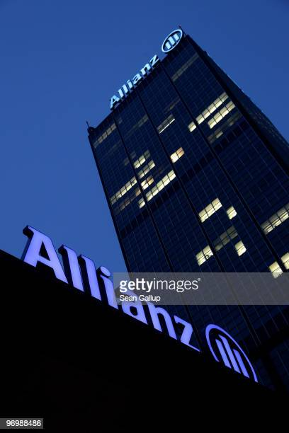 The logo of German insurer Allianz stands on the company's office buildings at Treptowers on February 23 2010 in Berlin Germany Allianz is to publish...