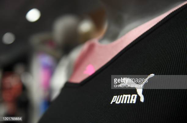 The logo of Germany's sportswear maker Puma is seen during the company's annual press conference on February 19, 2020 in Herzogenaurach, southern...