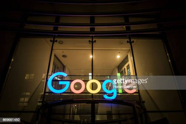 The logo of Google at its German Office is pictured in the evening on November 02 2017 in Hamburg Germany