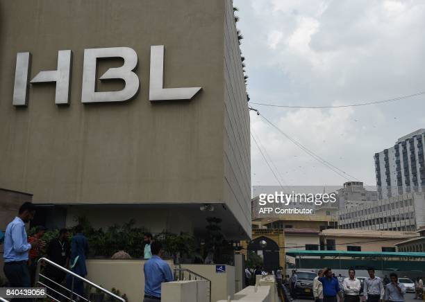 The logo of Habib Bank Limited is picture on the side of its building in Pakistan's port city of Karachi on August 29 2017 A Pakistani private bank...