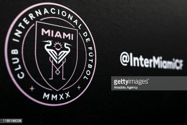 The logo of Inter Miami CF is seen during a news conference at Barry University in Miami, Florida, United States on January 21, 2020.