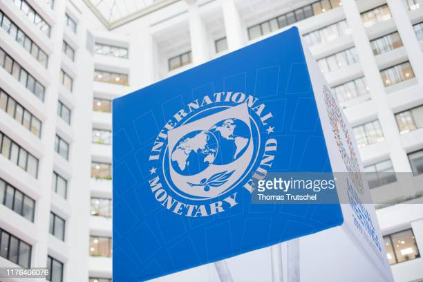 The Logo of International Monetary Fund IMF is pictured at IMF headquarters on October 17, 2019 in Washington, DC.