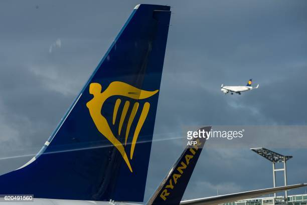 The logo of Irish lowcost airline Ryanair can be seen on a plane standing at the airport in Frankfurt am Main western Germany as a starting plane of...