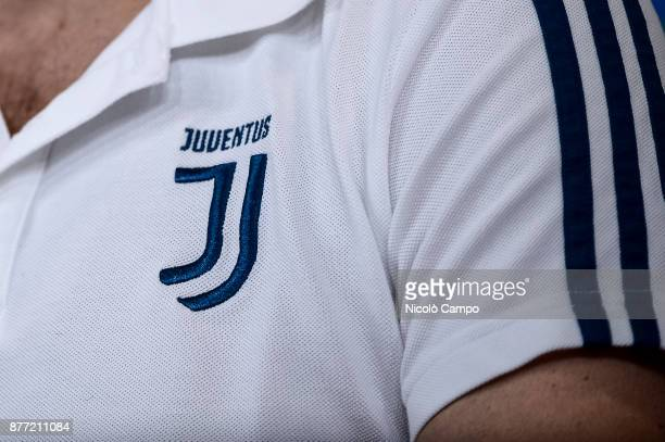 The logo of Juventus FC is pictured during Juventus FC press conference on the eve of the UEFA Champions League football match between Juventus FC...