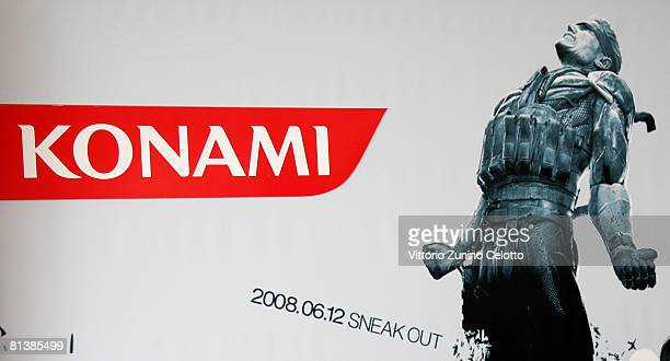 The Logo of Konami Production producer of Metal Gear Solid 4 Guns of The Patriots Game at Terrazza Autogrill Piazza Duomo on June 3 2008 in Milan...