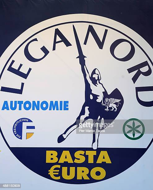 The logo of Lega Nord Party is dislayed at the annual Northern League Meeting in Pontida on May 4 2014 in Bergamo ItalyThe annual meeting is a...