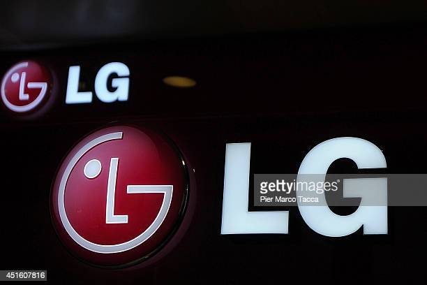 The logo of LG is dislpayed during the press conference at the LG Italy Headquarters on July 2 2014 in Milan ItalyLG Elettronics presented to the...