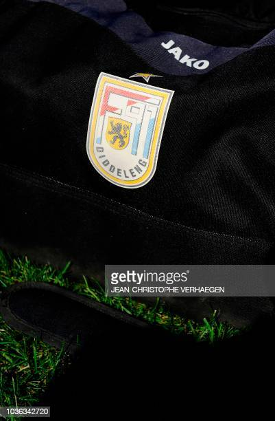 The logo of Luxembourg's F91 Dudelange is pictured on a bag on September 17 2018 at Aloyse Meyer stadium in Dudelange southern Luxembourg F91...