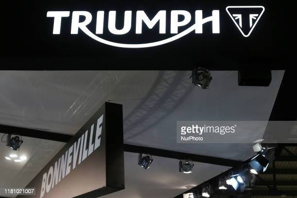 The logo of manufacturer Triumph is pictured during the 77th edition of EICMA on November 08, 2019 at Rho Fiera in Milan, Italy. EICMA is an...