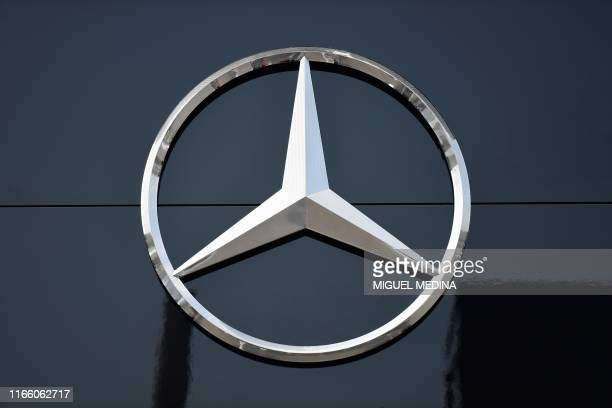 The logo of Mercedes is pictured in the paddock of the Autodromo Nazionale circuit in Monza on September 5, 2019 ahead of the Italian Formula One...