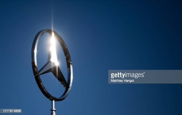 The logo of Mercedes-Benz on a factory roof factory, where car production has been halted, seen during the coronavirus crisis on April 8, 2020 in...