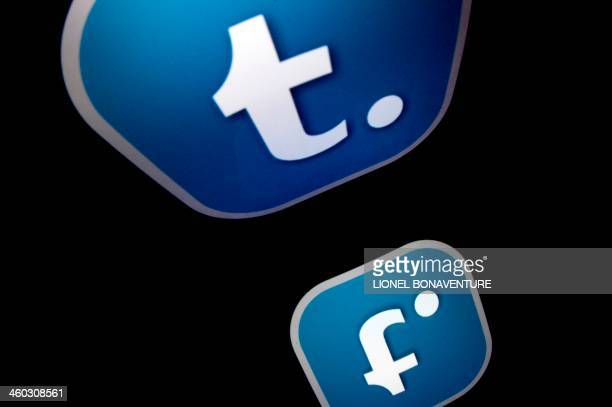 The logo of mobile app tumblr is displayed on a tablet on January 2 2014 in Paris AFP PHOTO / LIONEL BONAVENTURE
