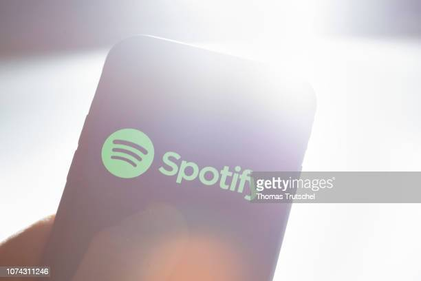 The Logo of music streaming platform Spotify is displayed on a smartphone on December 17 2018 in Berlin Germany