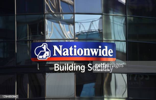 The logo of Nationwide Building Society outside one of its stores on January 05, 2021 in Birmingham, England.