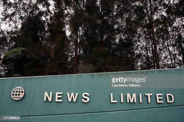 The logo of News Ltd the Australian unit of News Corp is displayed at the company's printing headquarters on August 17 2011 in Sydney Australia...