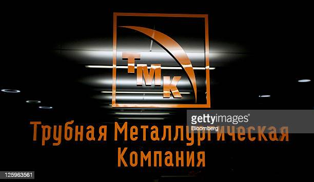 The logo of OAO TMK hangs in the company's headquarters in Moscow Russia on Thursday Sept 22 2011 OAO TMK Russia's largest producer of steel pipes...
