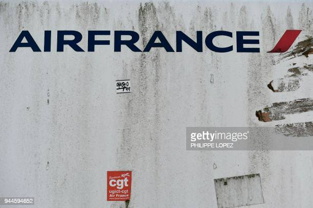 The logo of of Air France is pictured during a two-day strike on April 11, 2018 in front of headquarters of Air France at Paris Charles de Gaulle...