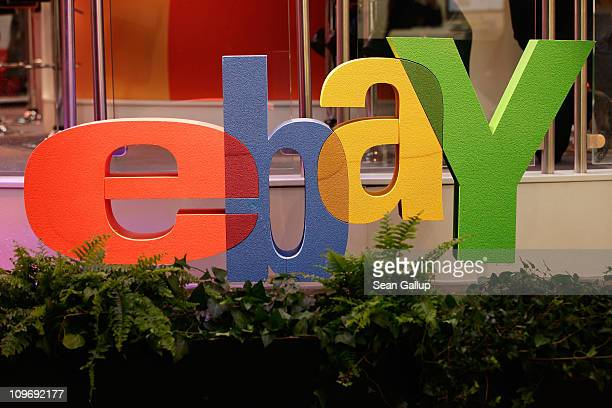 The logo of online retailer eBay stands at the CeBIT technology trade fair on March 1, 2011 in Hanover, Germany. CeBIT 2011 will be open to the...