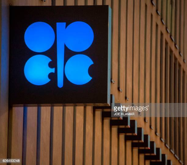 The logo of OPEC is pictured at the OPEC headquarters on the eve of the 171th meeting of the Organization of the Petroleum Exporting Countries in...