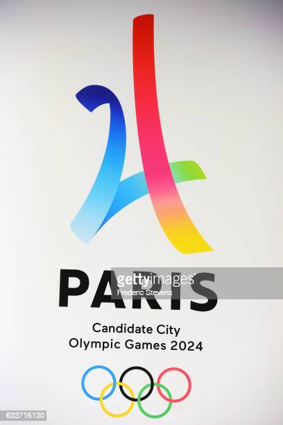 The logo of Paris as candidate for the 2024 Olympic summer games during at an international press conference at the Trocadero on February 3 2017 in...