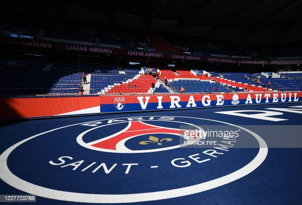 The logo of Paris Saint-Germain is seen on the ground prior to the friendly football match between Paris Saint-Germain and Glasgow Celtic FC at the...
