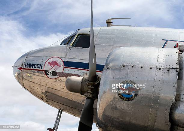 The logo of Pratt Whitney a unit of United Technologies Corp is displayed on the engine of a restored Trans Australia Airlines Douglas DC3 Hawdon...