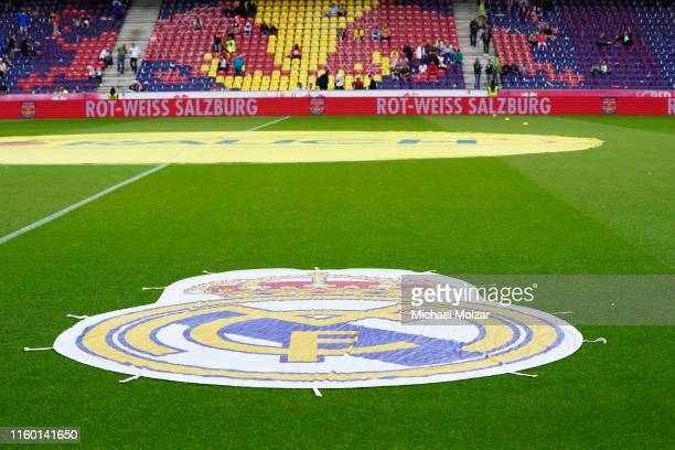 The logo of Real Madrid during the pre season friendly match between Red Bull Salzburg and Real Madrid at Red Bull Arena on August 7 2019 in Salzburg...