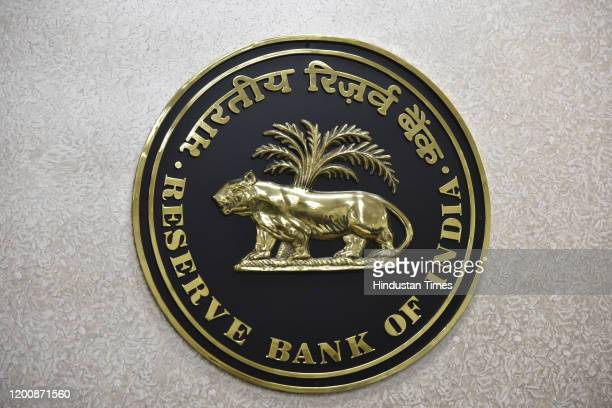 The logo of Reserve Bank of India during the RBI Central Board of Directors' customary postbudget meeting at Sansad Marg on February 15 2020 in New...