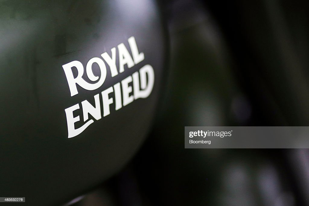 The logo of Royal Enfield Motors Ltd is seen on a Classic 350 motorcycle on the production line at the company`s manufacturing facility in Chennai...