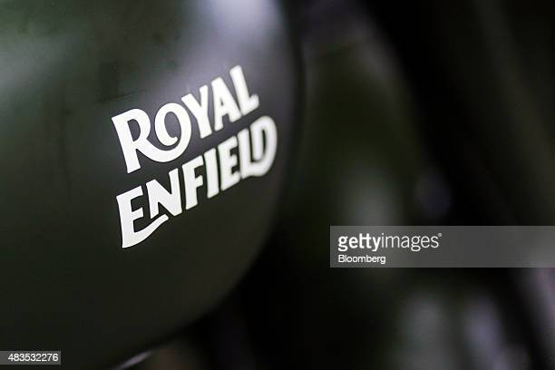 The logo of Royal Enfield Motors Ltd. Is seen on a Classic 350 motorcycle on the production line at the company's manufacturing facility in Chennai,...