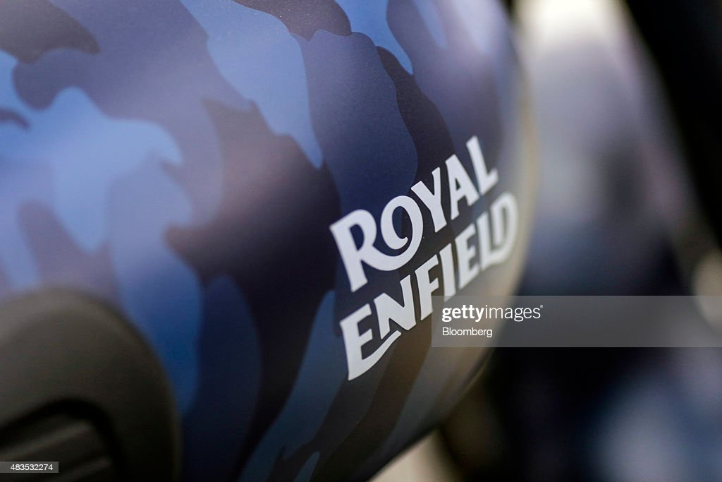 The logo of Royal Enfield Motors Ltd is seen on a Classic 500 Squadron Blue Despatch limited edition motorcycle on the production line at the...