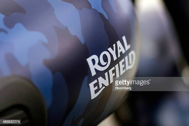 The logo of Royal Enfield Motors Ltd. Is seen on a Classic 500 Squadron Blue Despatch limited edition motorcycle on the production line at the...