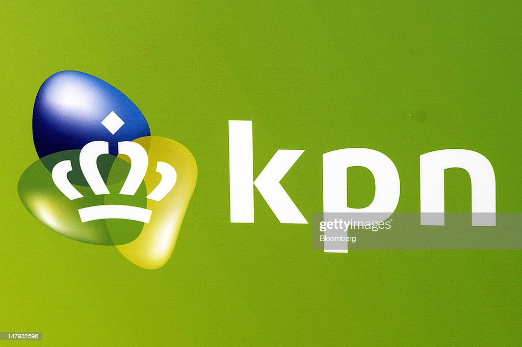 The logo of Royal KPN NV is seen on display at Schipol airport in Amsterdam, Netherlands, on Friday, July 6, 2012. America Movil SAB, Mexican billionaire Carlos Slim's wireless carrier, won the 28 percent stake it sought in Royal KPN NV, increasing its influence in Europe even after opposition from the Dutch operator. Photographer: Jock Fistick/Bloomberg via Getty Images